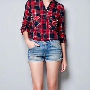 Zara Woman Studded denim shorts